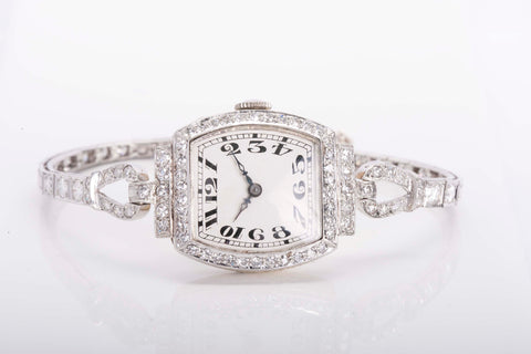 antique platinum ladies watch with diamonds