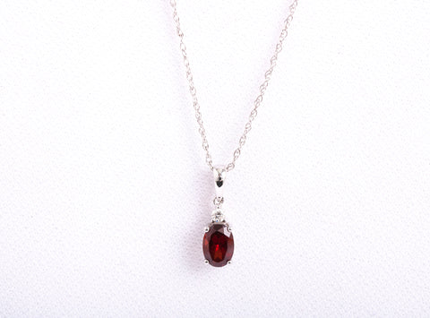 White Gold Garnet Necklace