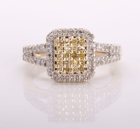 Women's 10k Two Tone Yellow Diamond Ring