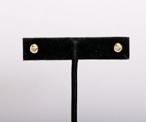 Stud Diamond and 18k Yellow Gold Earrings