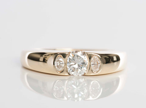 14K Yellow Gold 3-Stone Diamond Ring