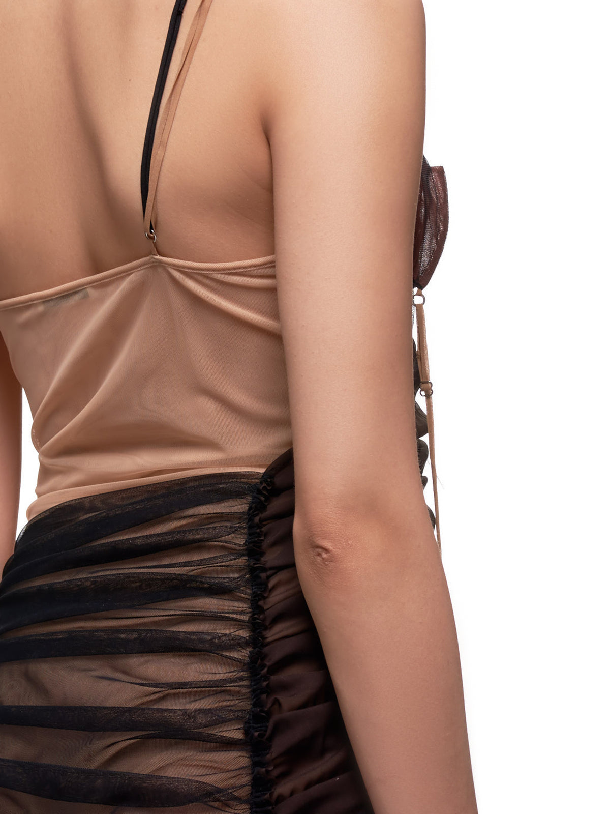 Asymmetrical Wrap Slip Dress (0001-BLACK-BROWN-NUDE)