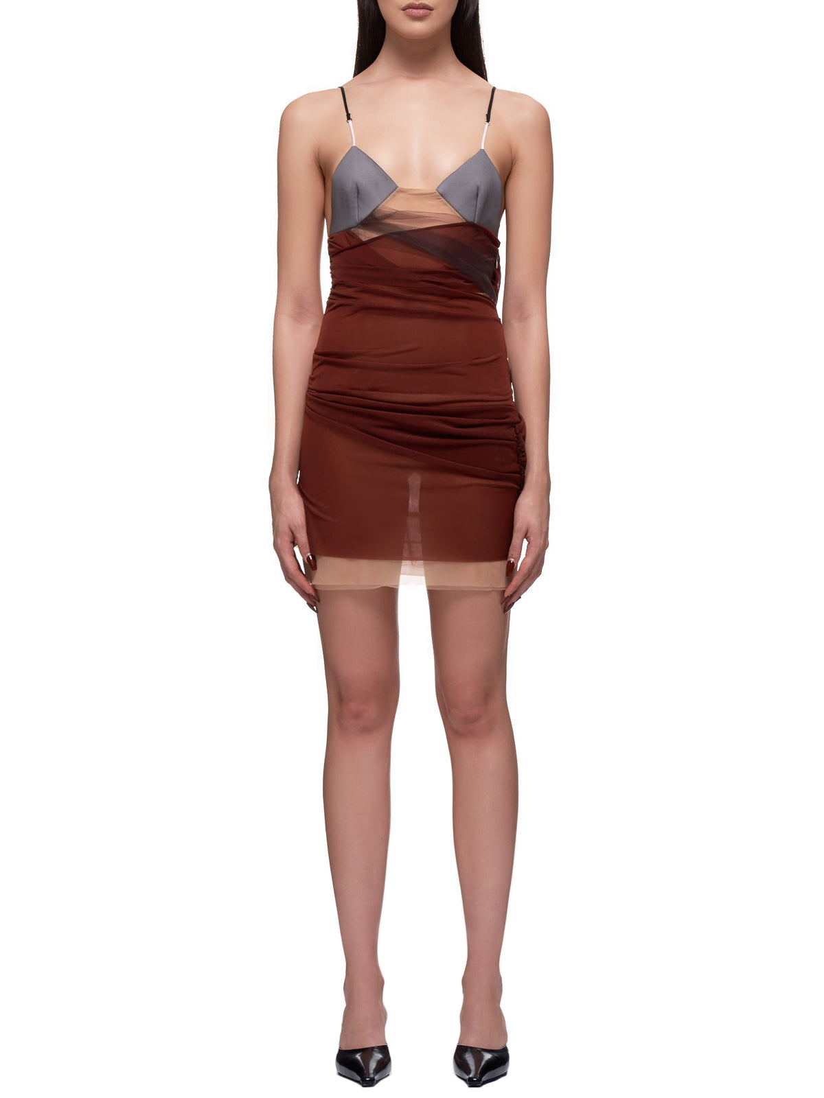 Evening Slip Dress (0004-BLACK-BROWN-NUDE)