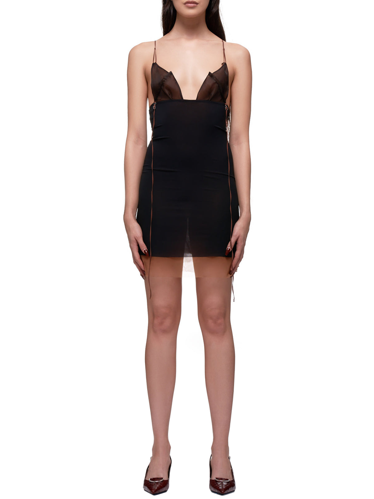 Deconstructed Wrap Slip Dress (0007-BLACK)