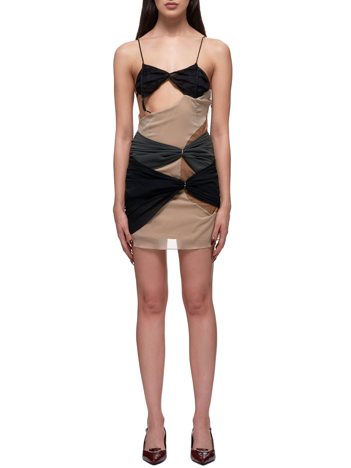 Deconstructed Slip Dress (0012-BLACK-NUDE-GRAY)