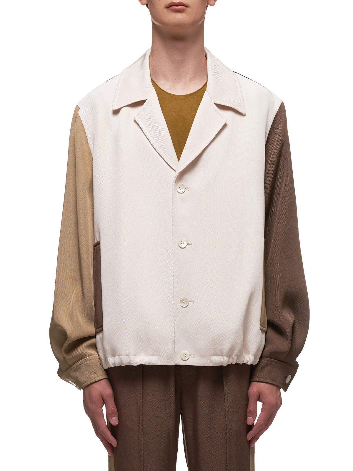 Color Block Panel Jacket (002-07-BROWN-BLACK-WHITE)