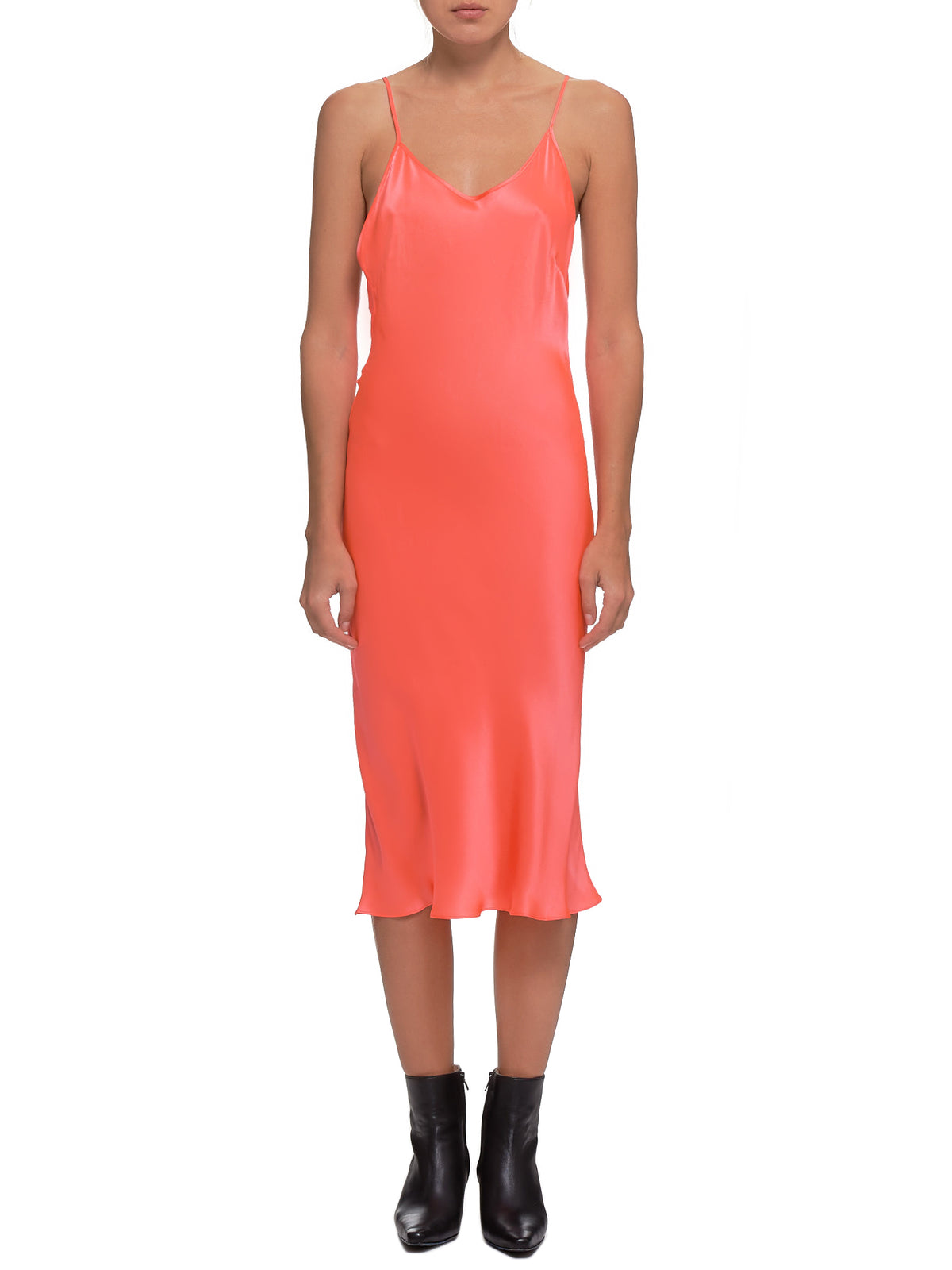 Satin Dress (#003054-#005-NEON-ORANGE)