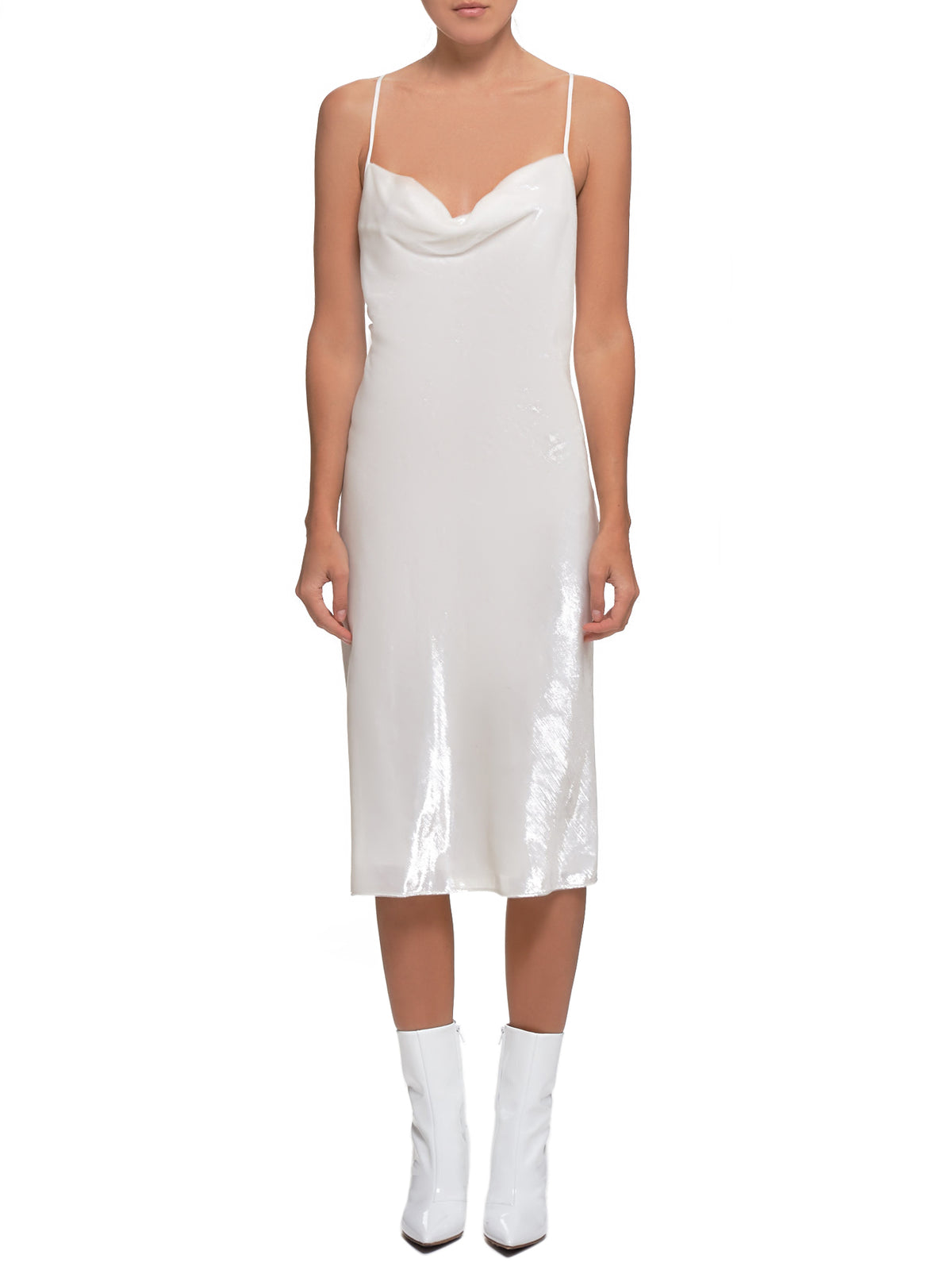 Velvet Slip Dress (#003066-#021-WHITE)