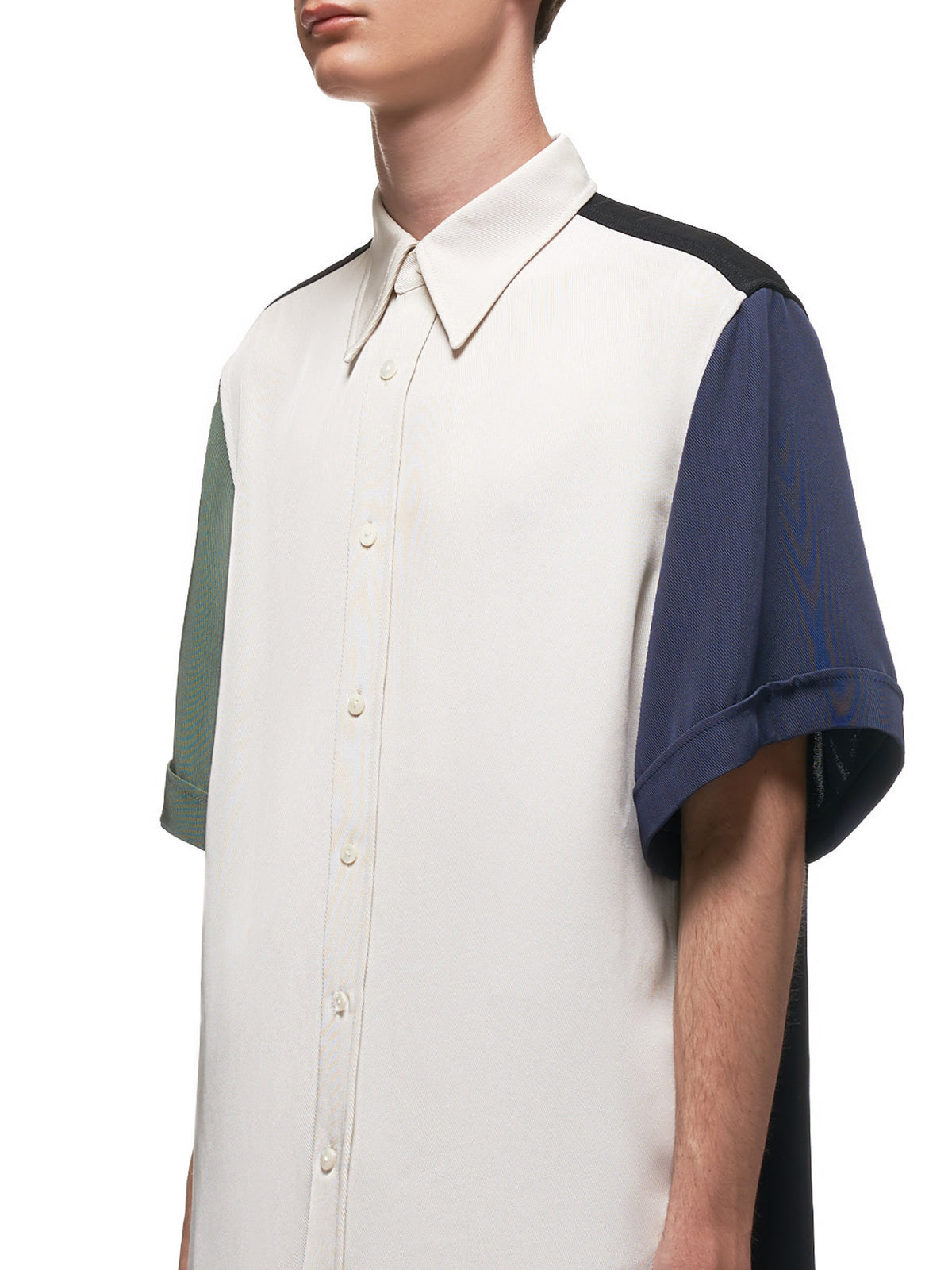 Color Block Panel Cuffed Short Sleeve Shirt (004-02-GREEN-BLUE-BLACK-WHITE)