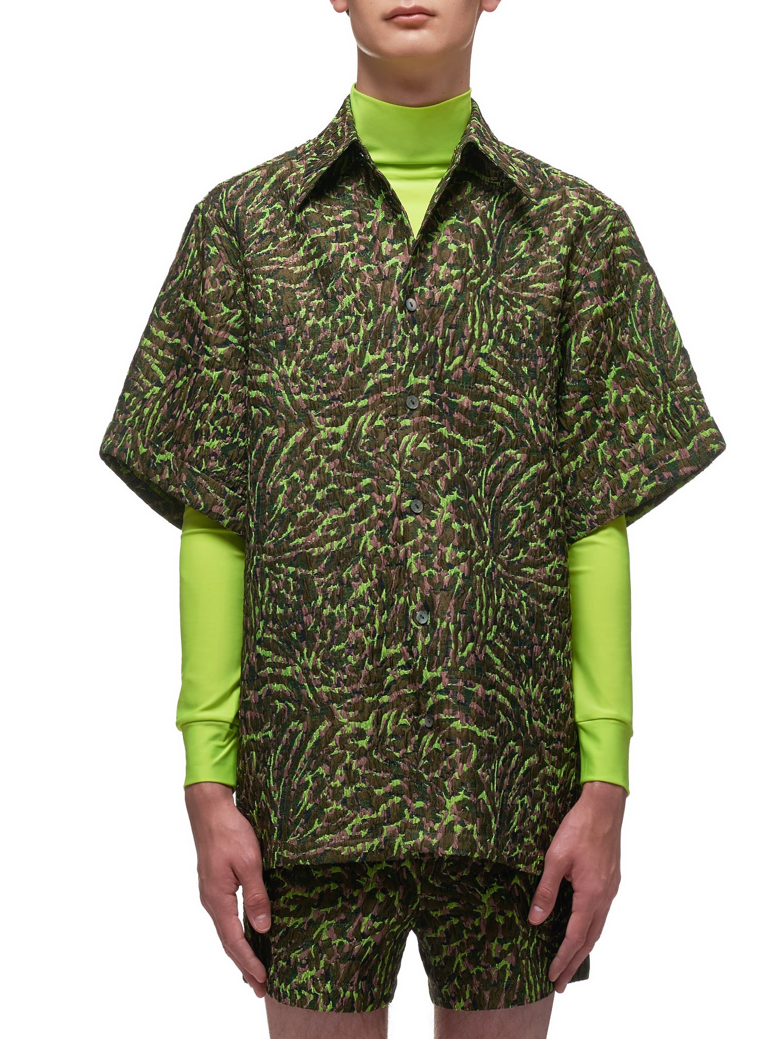 Peacock Cuffed Short Sleeve Shirt (004-06-RECYCLED-GREEN)