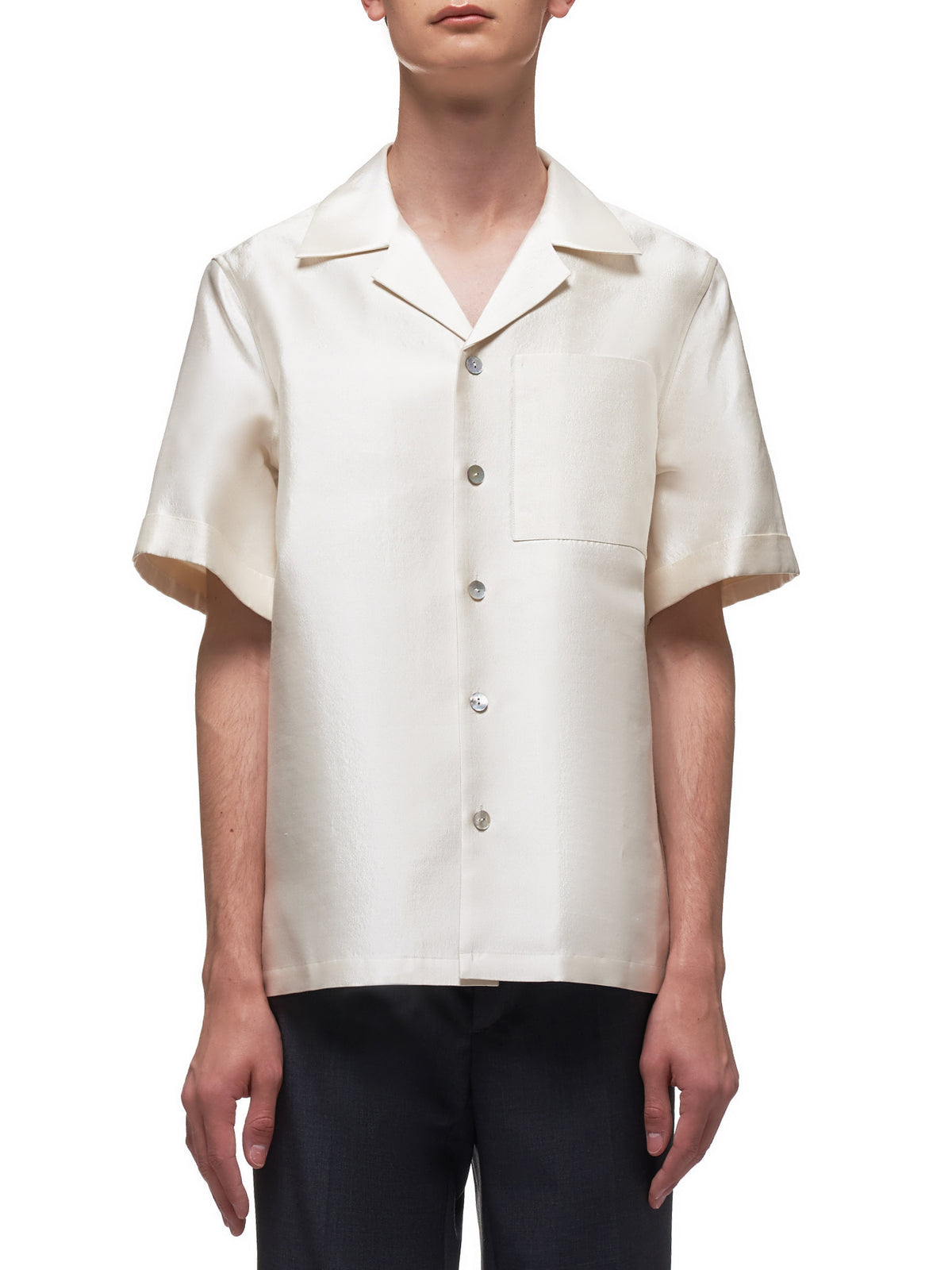 Color Block Panel Cuffed Short Sleeve Shirt (004-15-SUNNY-WHITE)