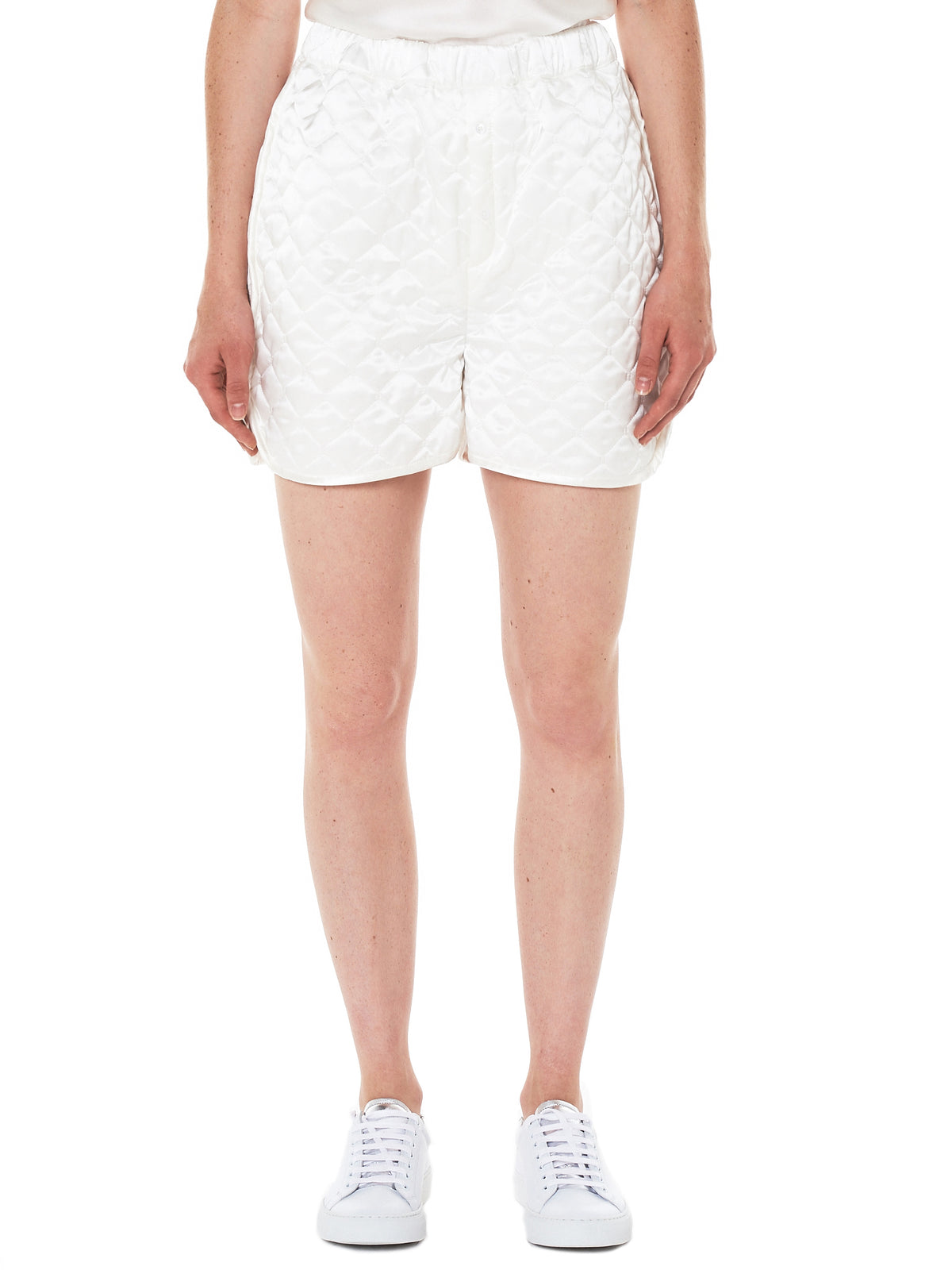 Nivi Quilted Silk Shorts (0046-NIVI-WHITE)