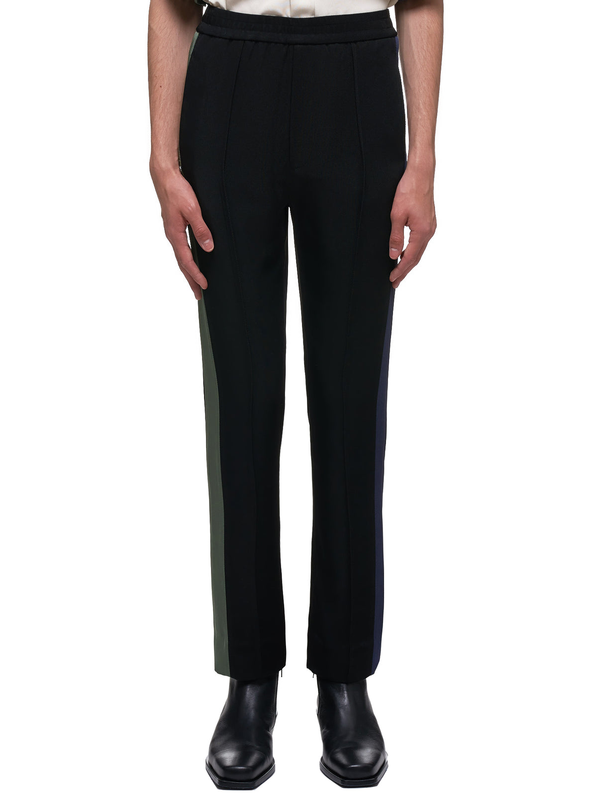 Side Stripe Hybrid Trousers (007-28-BLACK-BLUE-GREEN)