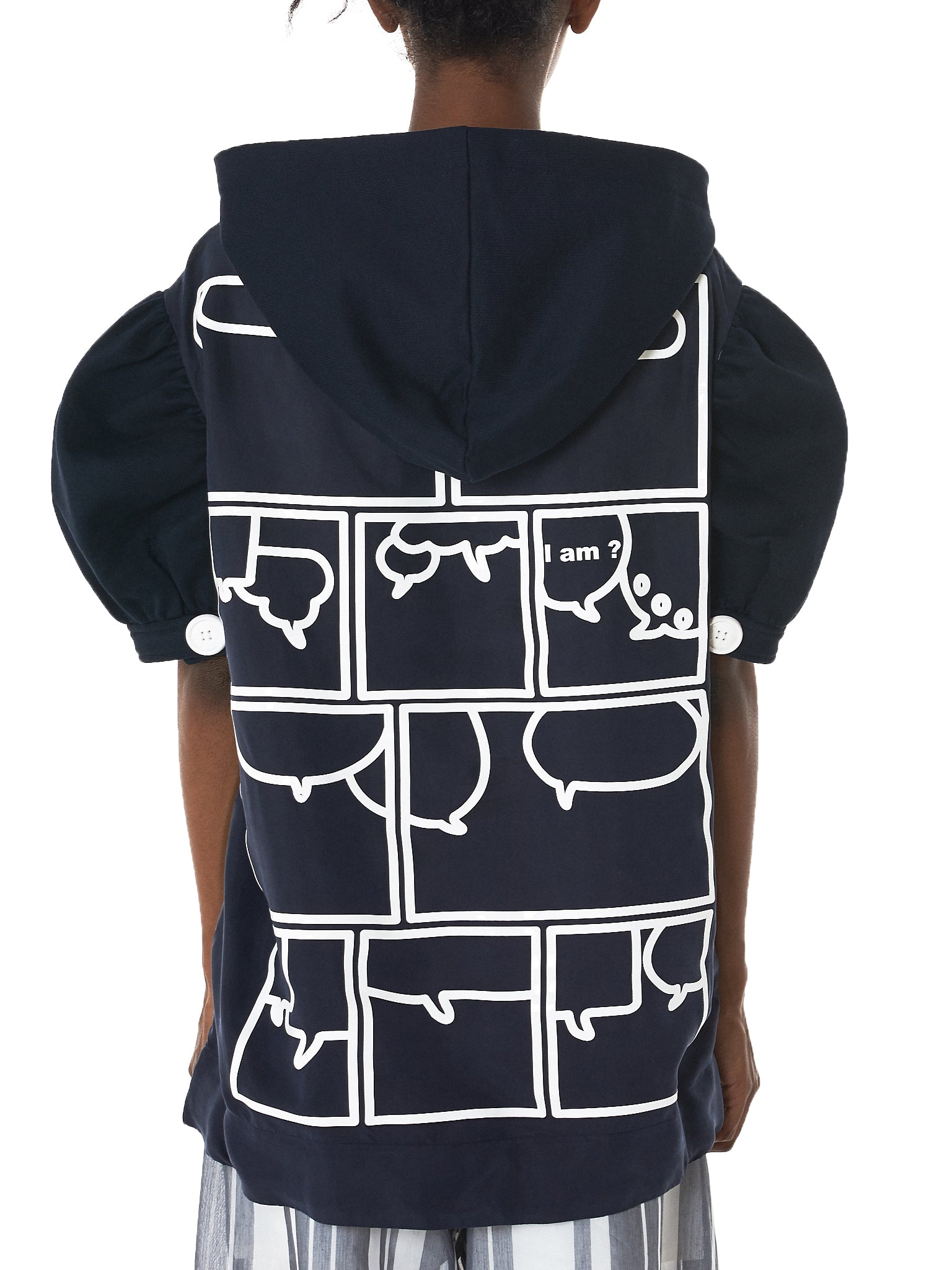 Puffed Sleeve Hooded Sweater (011-NAVY)
