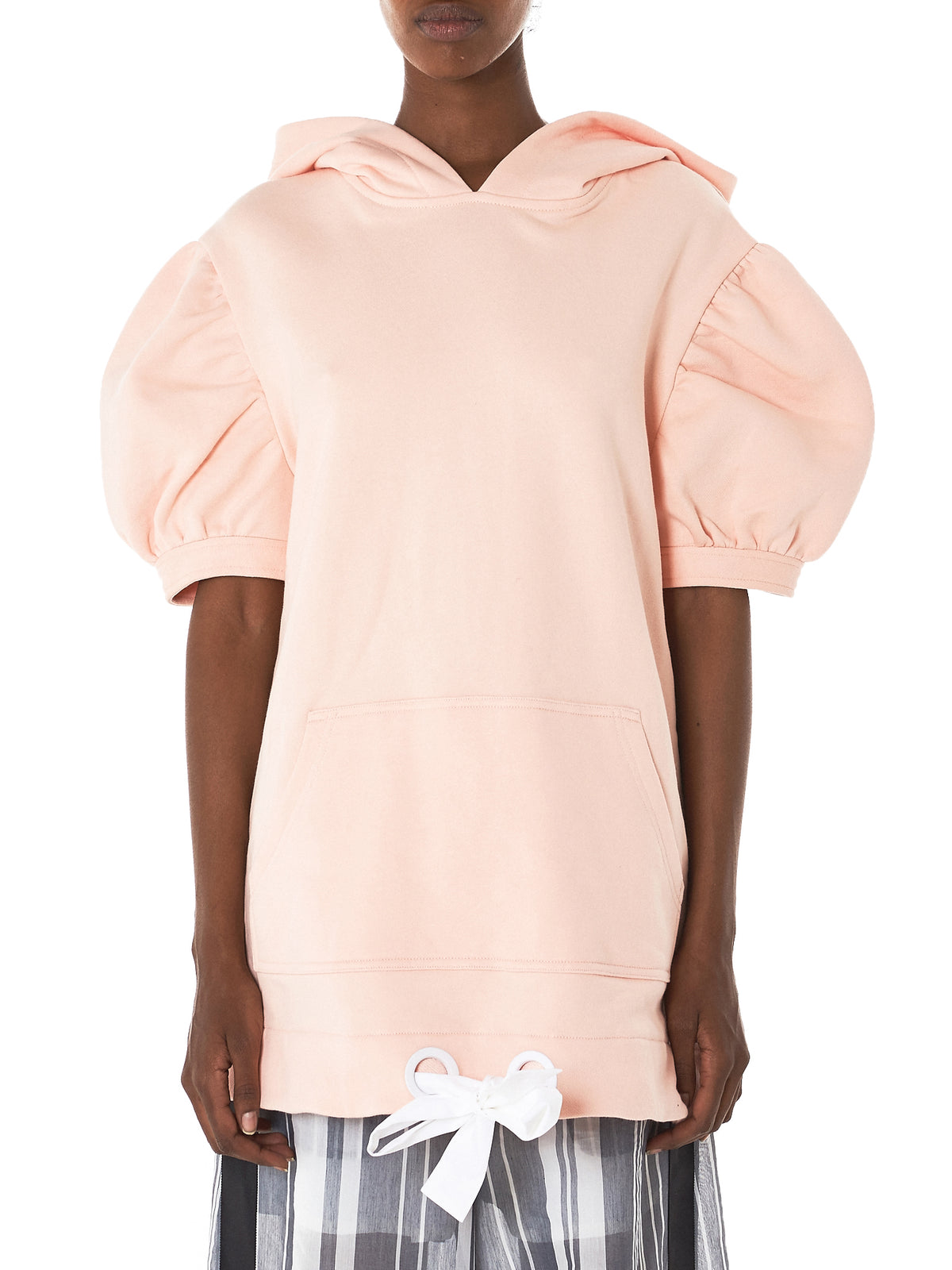 Puffed Sleeve Hooded Sweater (011-PINK)