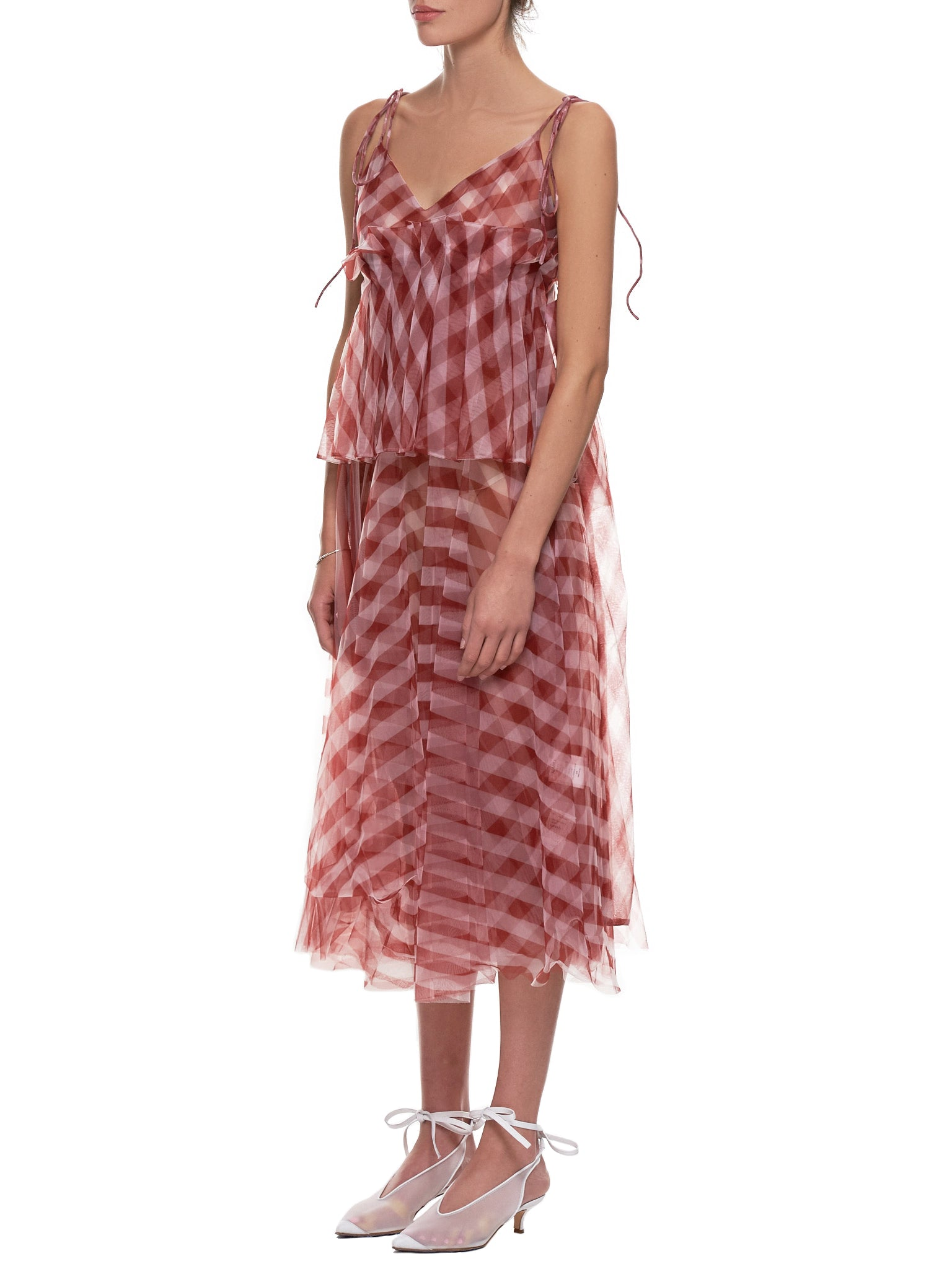 Gingham Dress (011-RED-WHITE)