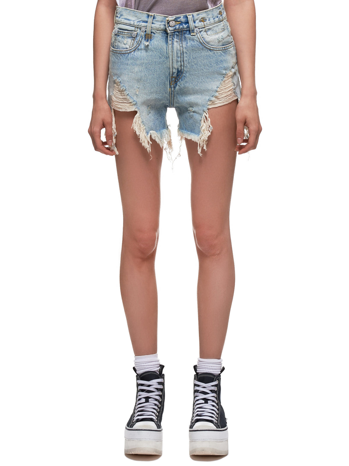 Shredded Slouch Denim Shorts (019-002-LIGHT-BLUE)