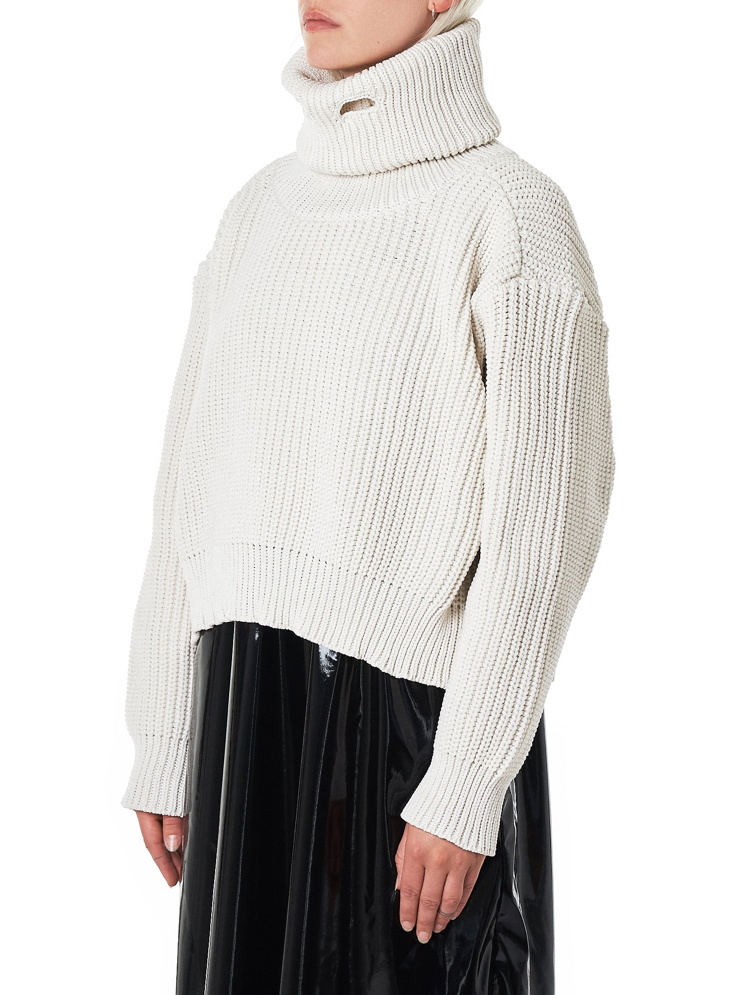 Funnelneck Knit Sweater (032-OFF-WHITE-POLY)