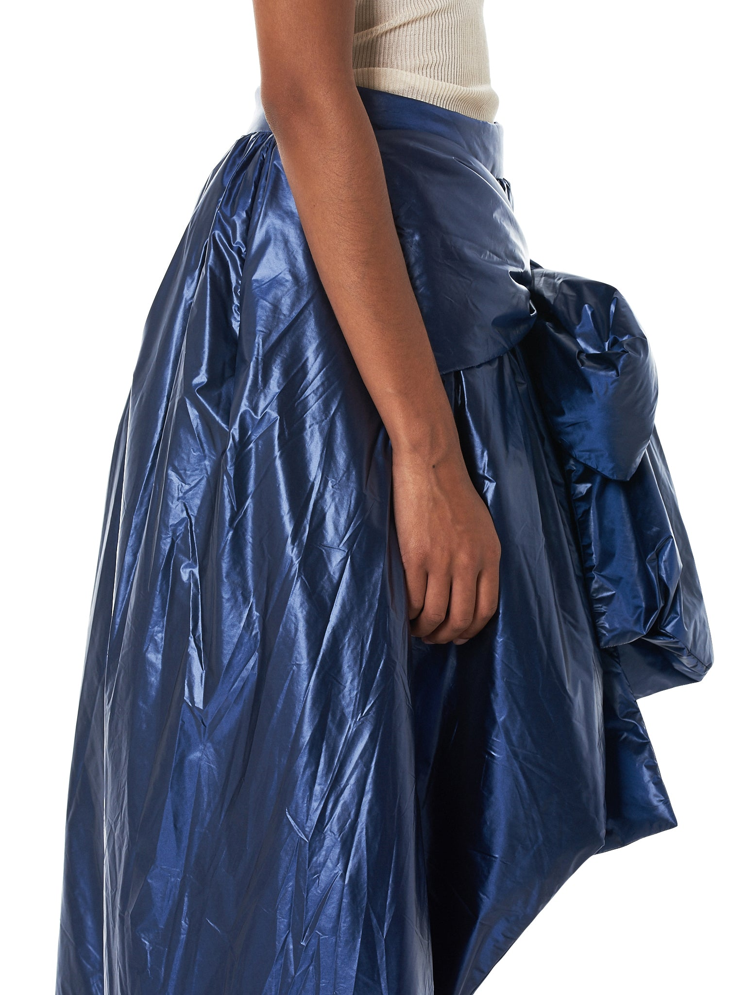 Bowed Metallic Puffer Skirt (039-PA04-NAVY)