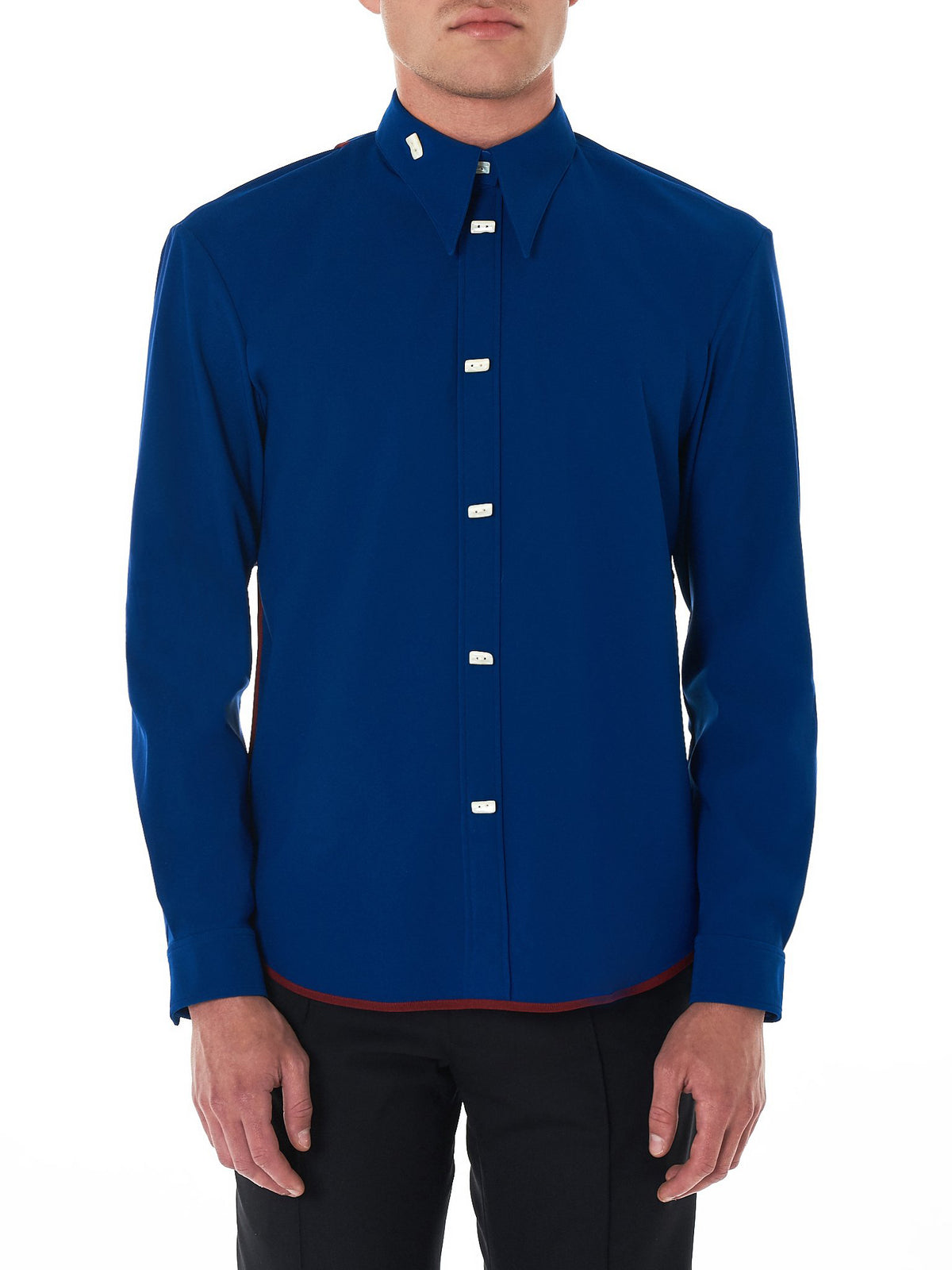 Double Faced Satin Shirt (0402NW18-BLUE)