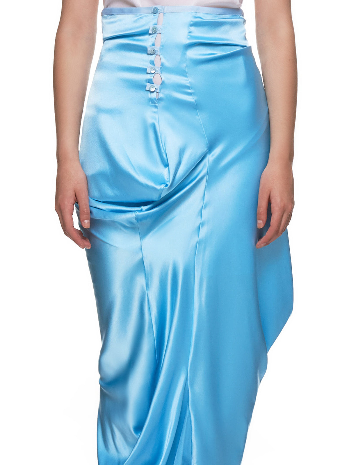 Draped Silk Skirt (06S-CHANG-PALE-BLUE)