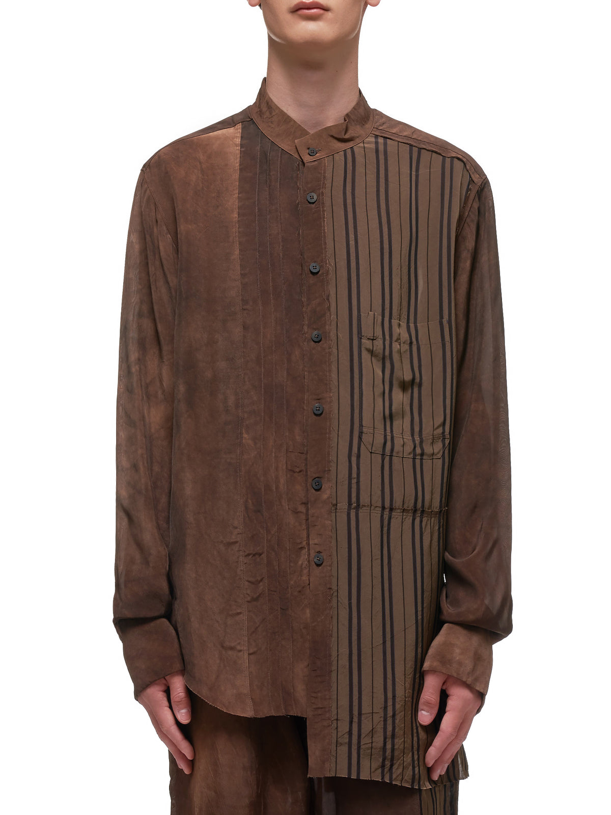 Hybrid Pattern Mandarin Stand Collar Shirt (0704-DK-BROWN)