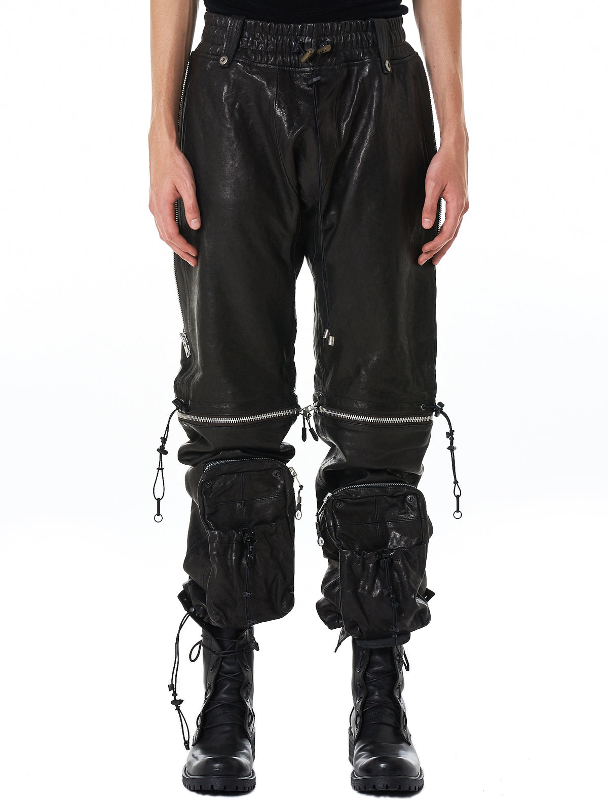 Blackmerle Leather Trouser - Hlorenzo Front
