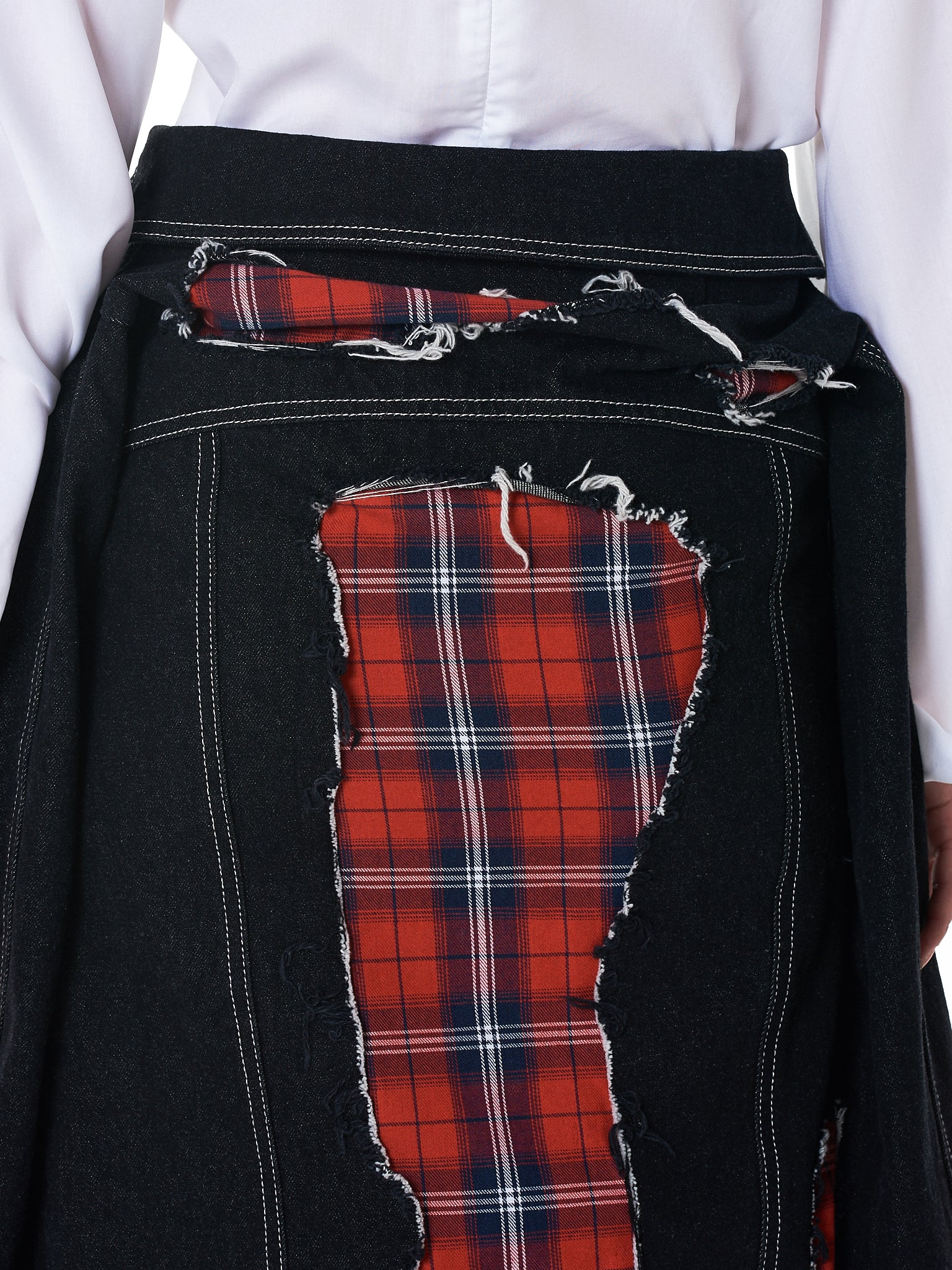 Patchwork Denim Skirt (BT-008-BLK-RED-CHECK)