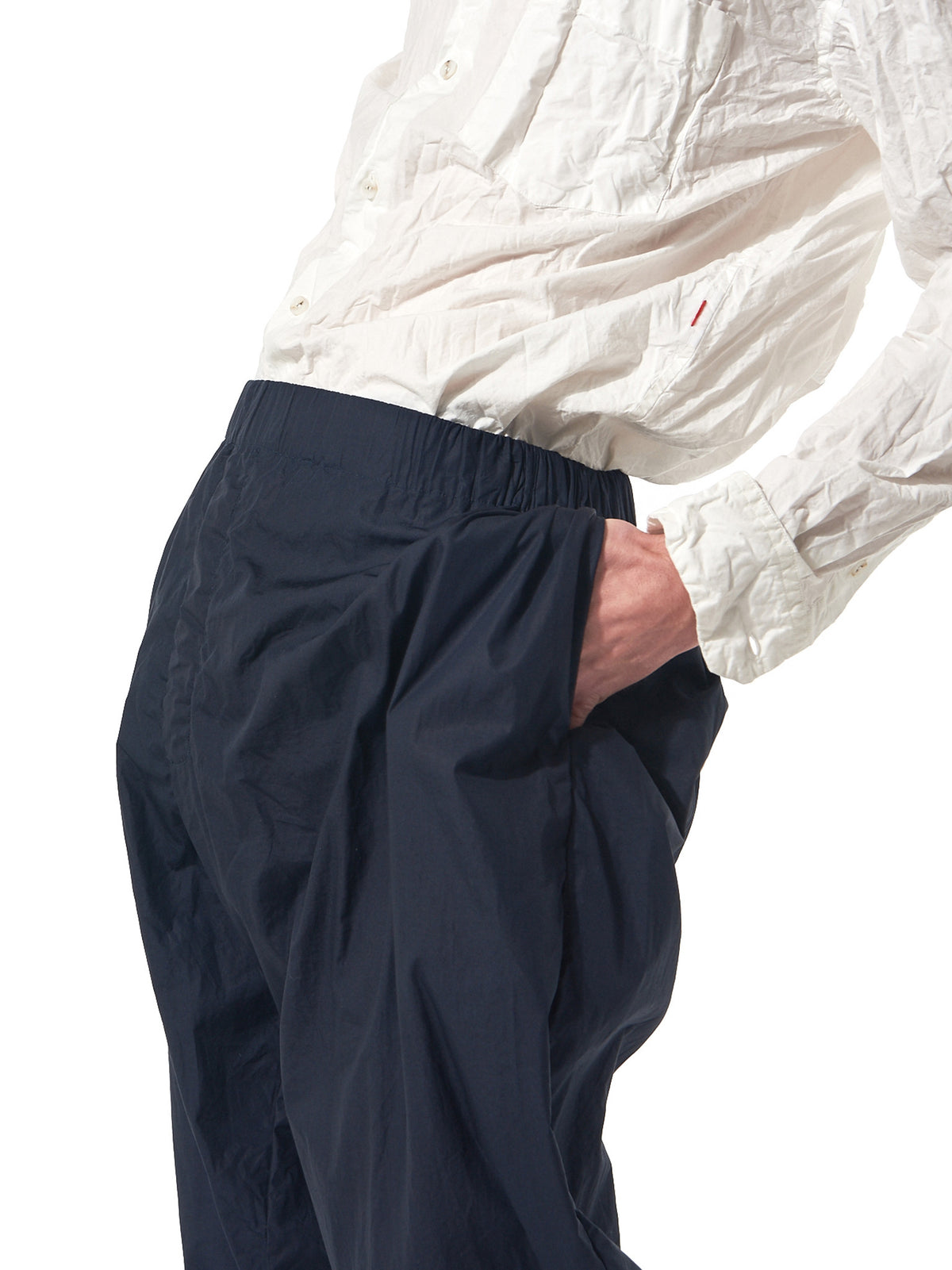 Relaxed-Fit Gartered Trousers (08HP85 CRISP NAVY) - H. Lorenzo