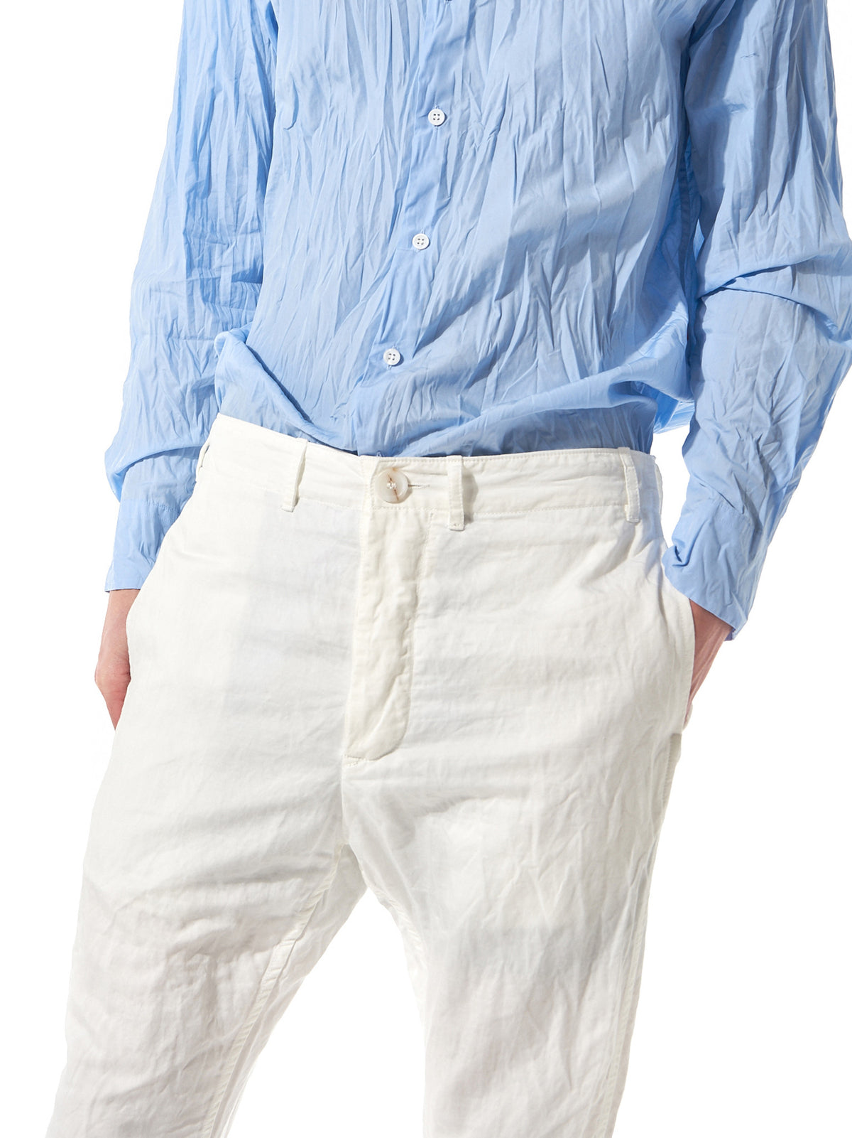 Washed Cotton Trousers (08HP93 SHARK 2 IVORY) - H. Lorenzo