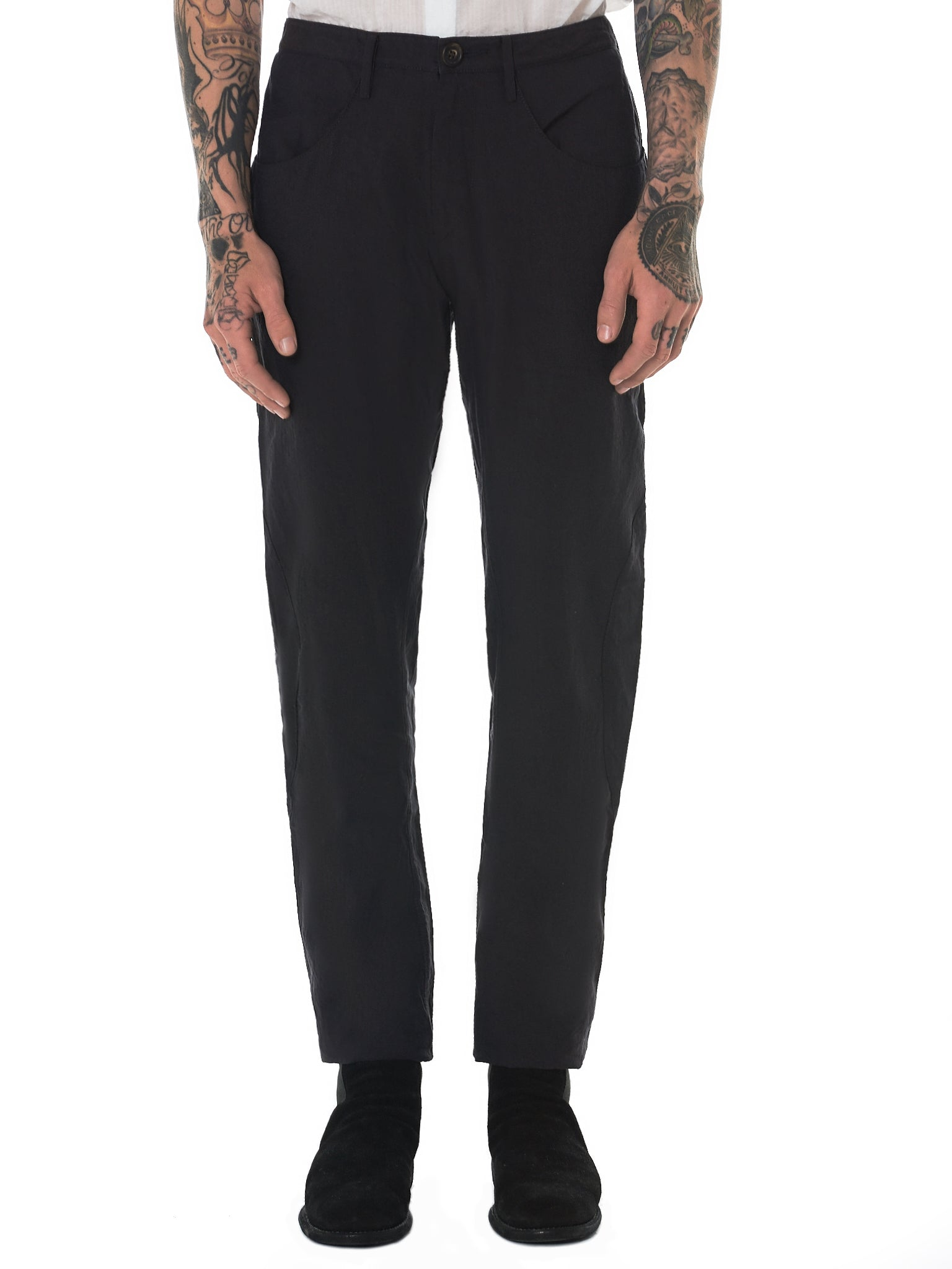 Ziggy Chen Linen Trousers - Hlorenzo Front