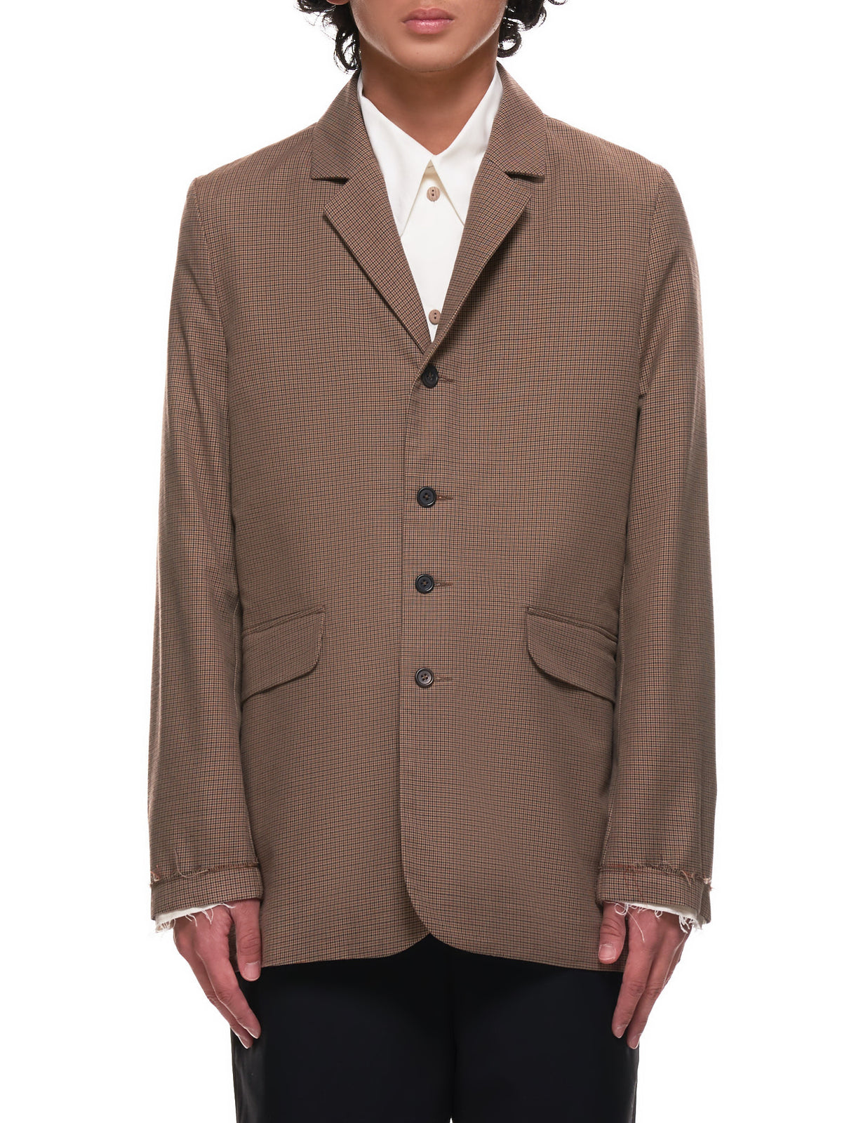 Raw Wool Blazer (10-08-03-BROWN)