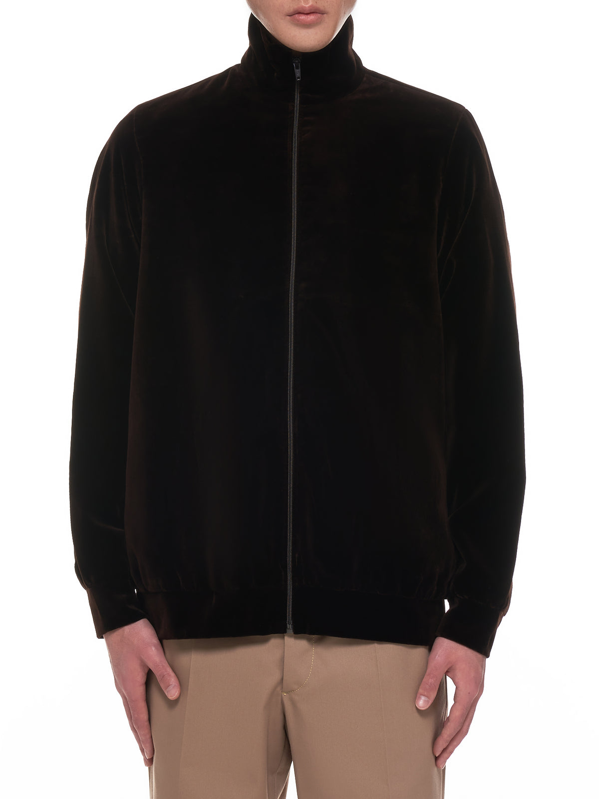 Velour Zip-Up Track Jacket (10-08-09-BROWN)