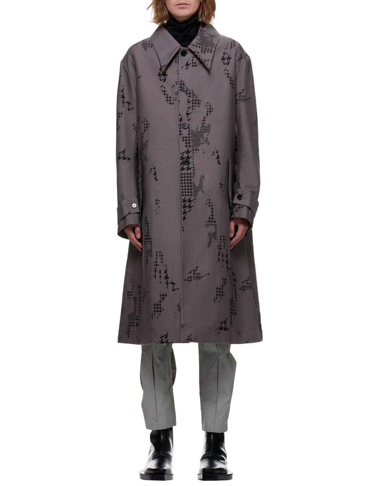 Floating Lapel Houndstooth Coat (1003-MAC-GRAY)