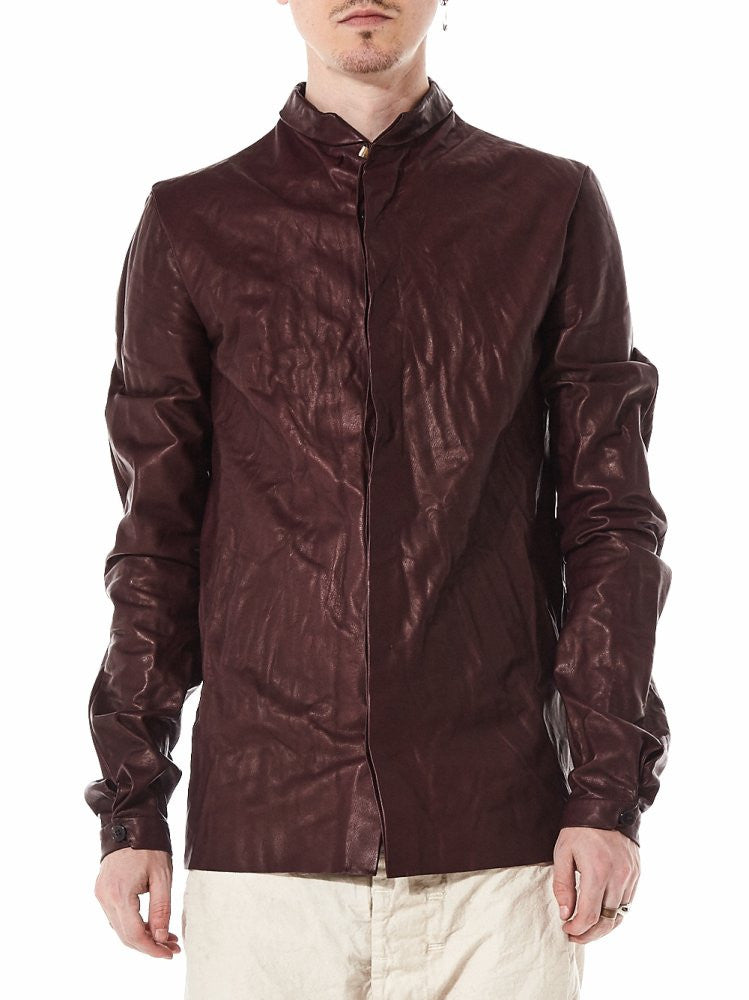 Unlined Leather Shirt With .925 Silver Clasp (H231 SY 0.5 WINE) - H. Lorenzo