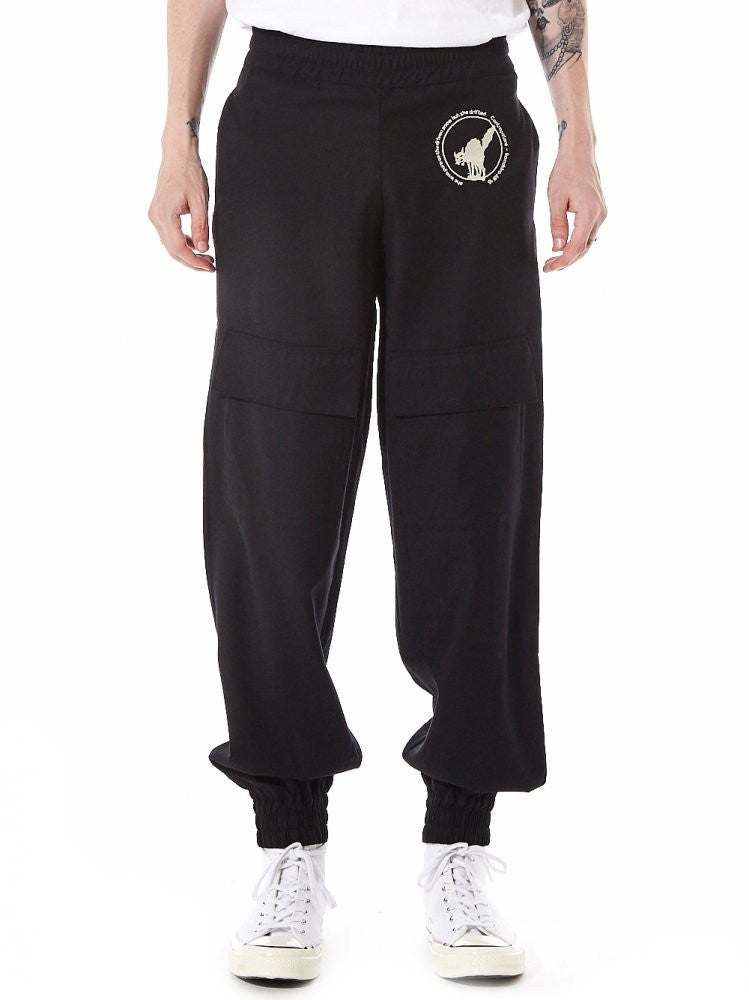 Cargo Joggers With Cat Embroidery Detail (611-BK BLACK) - H. Lorenzo