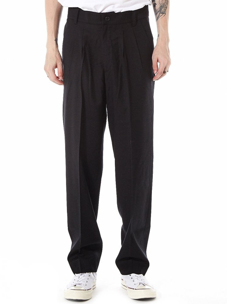 Pleated Classic Wool Trouser (610-BK BLACK) - H. Lorenzo