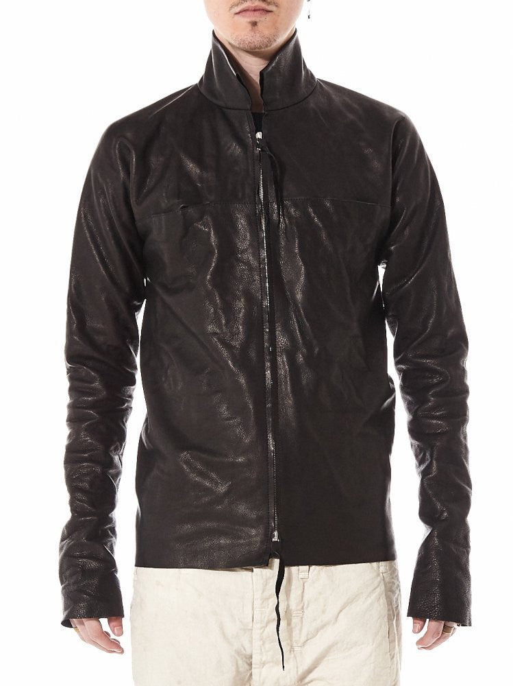 Unlined Leather Shirt with .925 Silver Clasp (H252NDZ SY 1.0 BLACK) - H. Lorenzo