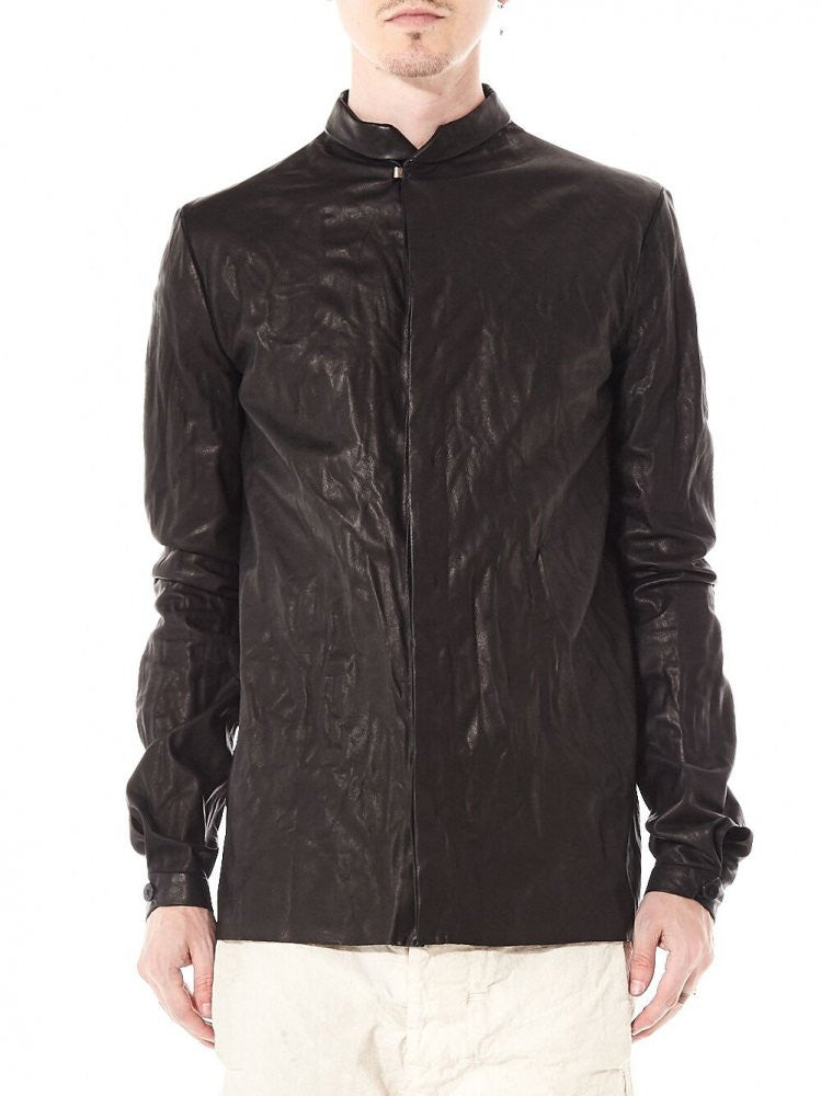 Unlined Leather Shirt With .925 Silver Clasp (H231 SY 0.5 BLACK) - H. Lorenzo
