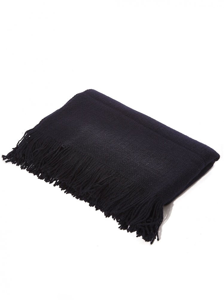 Fringed Yak Shawl (MONGOLIA NUBBY MIDNIGHT BLUE) - H. Lorenzo