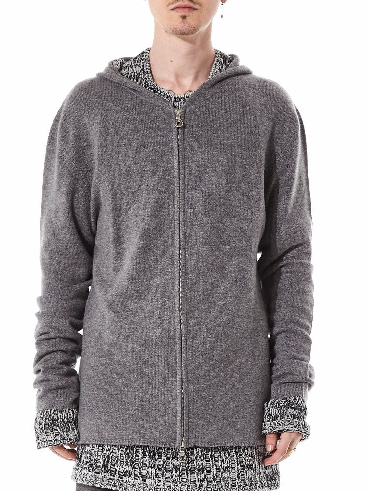 Cashmere Zip-Up Hoodie (ZIP UP CHARCOAL MELANGE) - H. Lorenzo