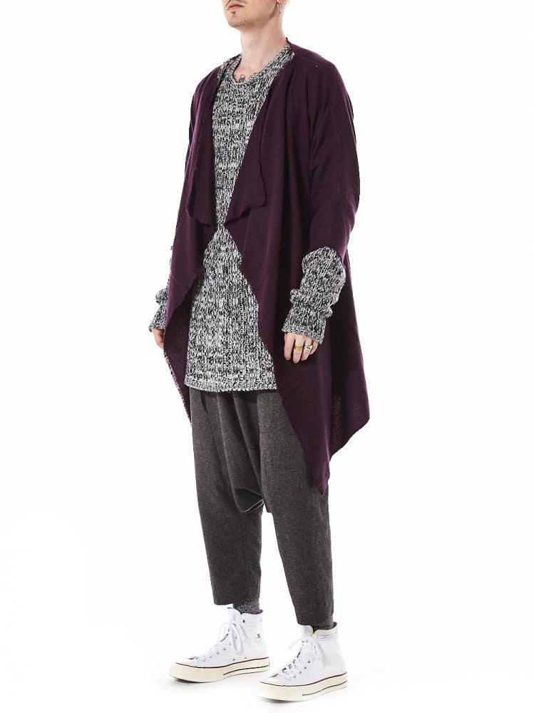 Cashmere Shawl-Collar Throw (KAFTAN COAT DARK FIG) - H. Lorenzo