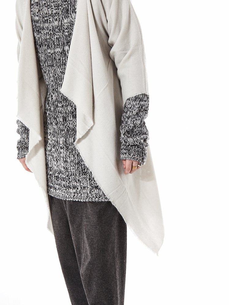Shawl-Collar Cashmere Throw (KAFTAN COAT MOONBEAM) - H. Lorenzo