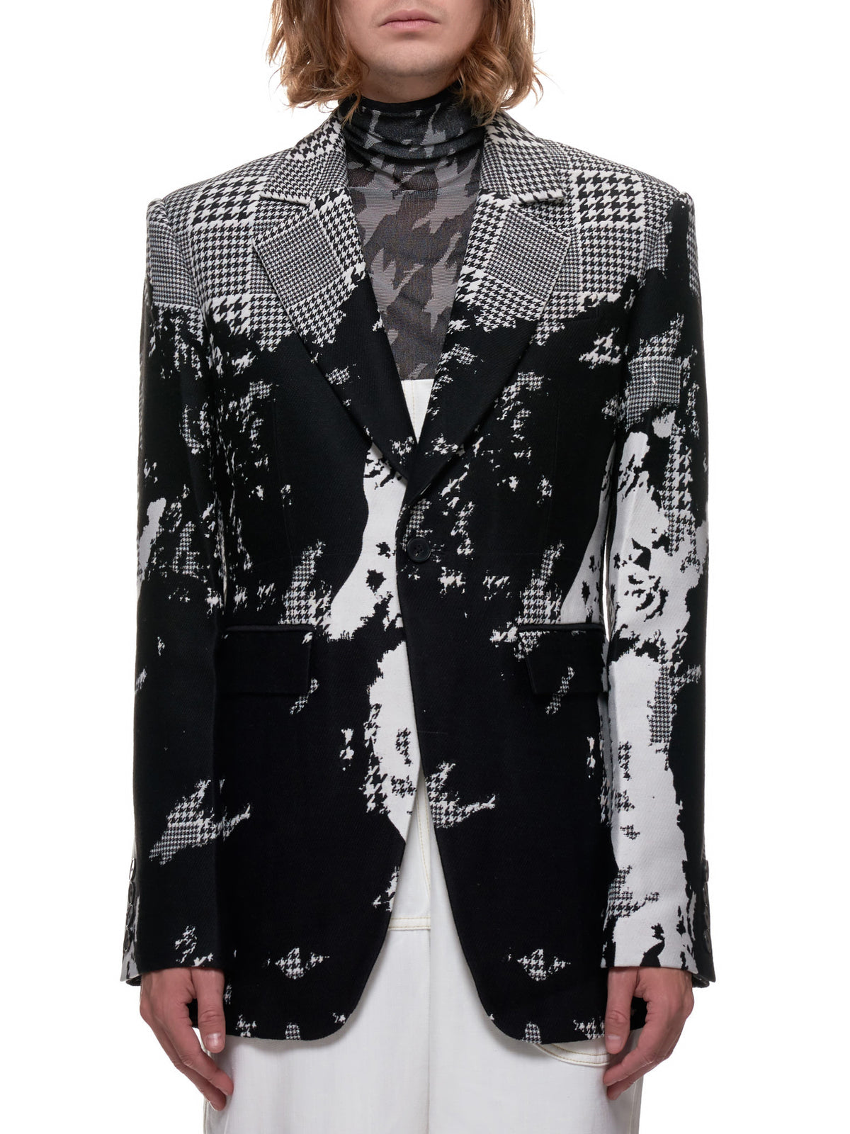 Distorted Sharktooth Plaid Blazer (1009-BLACK-WHITE)