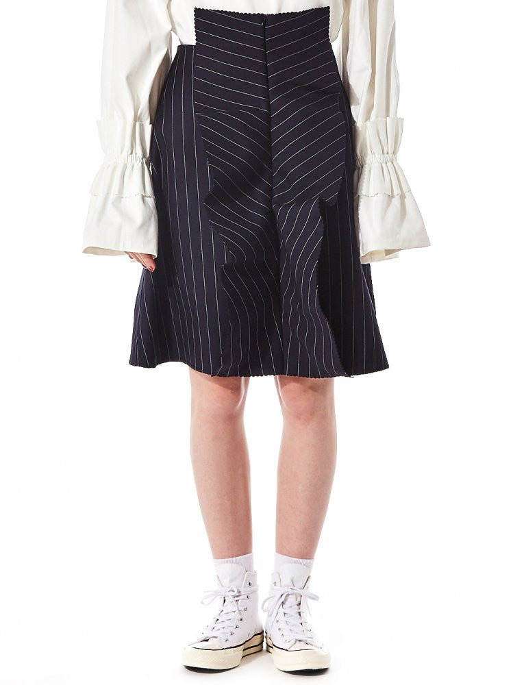 Crimped Pinstripe A-Line Skirt (AW2016SK05N NAVY) - H. Lorenzo
