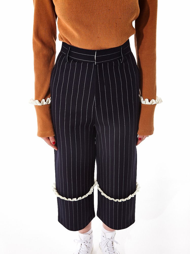 Pinstripe Trouser with Pleated Knee (AW2016TR01N NAVY) - H. Lorenzo