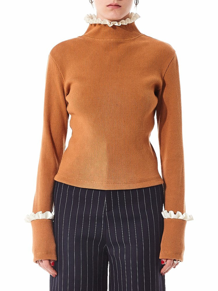 Ribbed Cotton Pullover (AW2016TO05BR BROWN) - H. Lorenzo