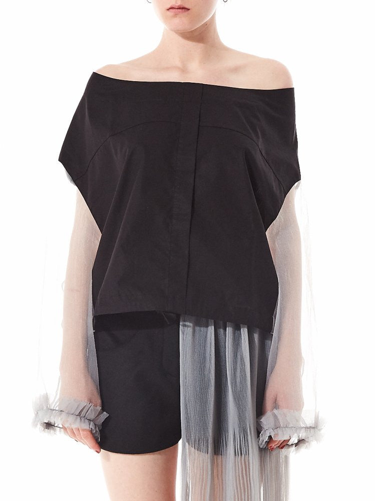 Contrast Drop Shoulder Tulle Blouse (MWAW16_21SH04 GREY) - H. Lorenzo
