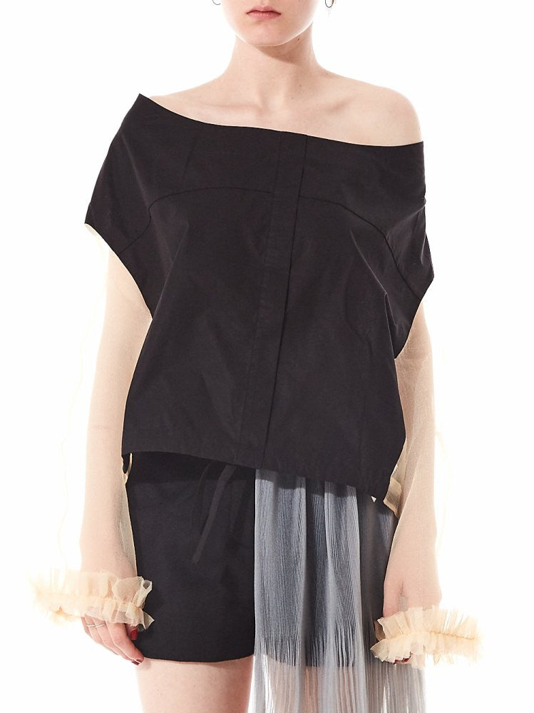 Contrast Drop Shoulder Tulle Blouse (MWAW1621_SH04 BLACK/CREAM) - H. Lorenzo