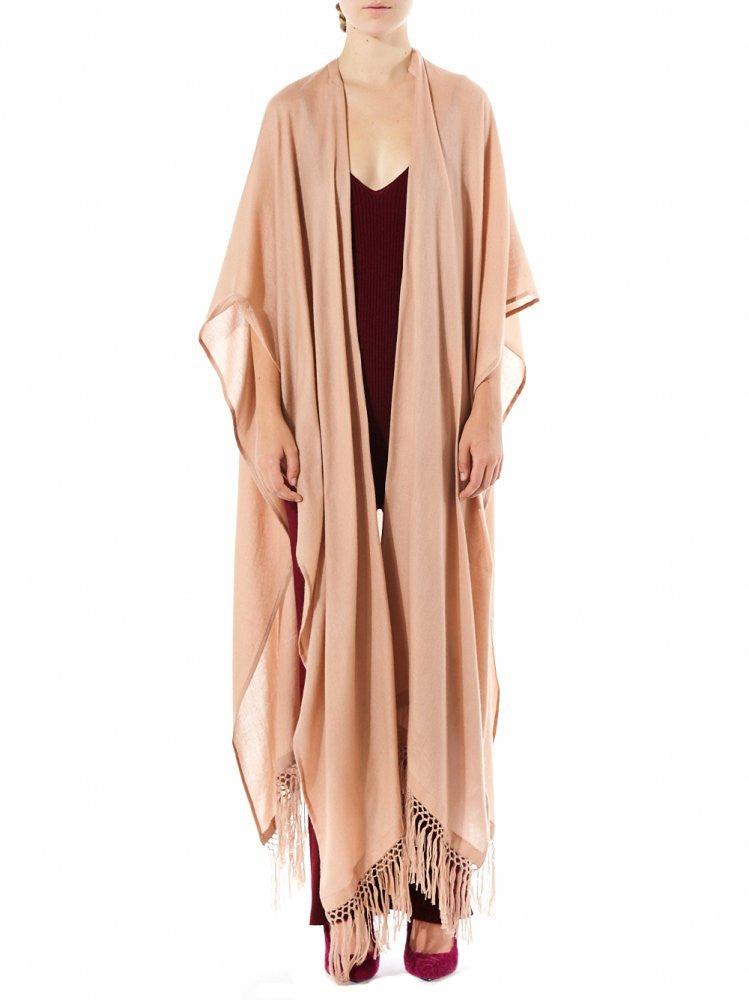 Cashmere Knit Long Tunic With Fringe (34-01 ROSE SABLE) - H. Lorenzo